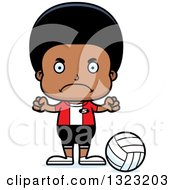 Clipart Of A Cartoon Mad Black Boy Volleyball Player Royalty Free Vector Illustration