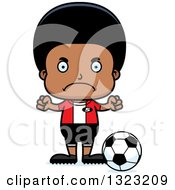Clipart Of A Cartoon Mad Black Boy Soccer Player Royalty Free Vector Illustration