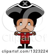 Clipart Of A Cartoon Mad Black Boy Pirate Royalty Free Vector Illustration