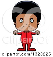 Clipart Of A Cartoon Mad Black Boy Wearing Pajamas Royalty Free Vector Illustration by Cory Thoman