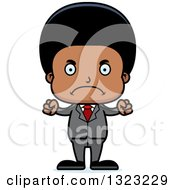 Clipart Of A Cartoon Mad Black Business Boy Royalty Free Vector Illustration by Cory Thoman