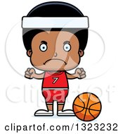 Clipart Of A Cartoon Mad Black Boy Basketball Player Royalty Free Vector Illustration
