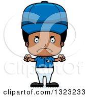 Clipart Of A Cartoon Mad Black Boy Baseball Player Royalty Free Vector Illustration