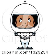 Clipart Of A Cartoon Mad Black Boy Astronaut Royalty Free Vector Illustration