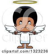 Clipart Of A Cartoon Mad Black Angel Boy Royalty Free Vector Illustration