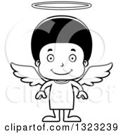Lineart Clipart Of A Cartoon Happy Black Angel Boy Royalty Free Outline Vector Illustration