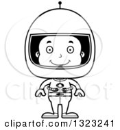 Lineart Clipart Of A Cartoon Happy Black Boy Astronaut Royalty Free Outline Vector Illustration