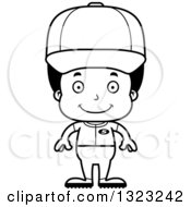 Lineart Clipart Of A Cartoon Happy Black Boy Baseball Player Royalty Free Outline Vector Illustration