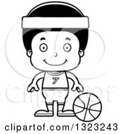 Lineart Clipart Of A Cartoon Happy Black Boy Basketball Player Royalty Free Outline Vector Illustration