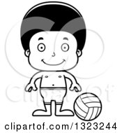Lineart Clipart Of A Cartoon Happy Black Boy Beach Volleyball Player Royalty Free Outline Vector Illustration
