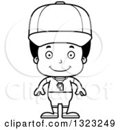 Lineart Clipart Of A Cartoon Happy Black Boy Sports Coach Royalty Free Outline Vector Illustration