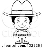 Lineart Clipart Of A Cartoon Happy Black Cowboy Royalty Free Outline Vector Illustration