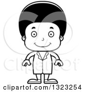 Lineart Clipart Of A Cartoon Happy Black Boy Doctor Royalty Free Outline Vector Illustration
