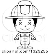 Lineart Clipart Of A Cartoon Happy Black Boy Firefighter Royalty Free Outline Vector Illustration