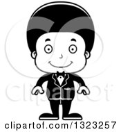 Lineart Clipart Of A Cartoon Happy Black Boy Groom Royalty Free Outline Vector Illustration