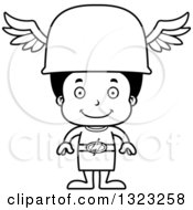 Lineart Clipart Of A Cartoon Happy Black Hermes Boy Royalty Free Outline Vector Illustration