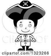 Lineart Clipart Of A Cartoon Happy Black Boy Pirate Royalty Free Outline Vector Illustration