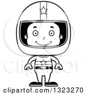 Lineart Clipart Of A Cartoon Happy Black Boy Race Car Driver Royalty Free Outline Vector Illustration