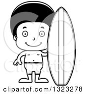 Lineart Clipart Of A Cartoon Happy Black Surfer Boy Royalty Free Outline Vector Illustration