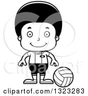 Lineart Clipart Of A Cartoon Happy Black Boy Volleyball Player Royalty Free Outline Vector Illustration