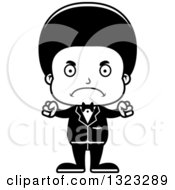 Lineart Clipart Of A Cartoon Mad Black Boy Groom Royalty Free Outline Vector Illustration