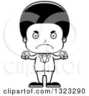 Lineart Clipart Of A Cartoon Mad Black Business Boy Royalty Free Outline Vector Illustration