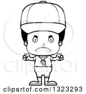Lineart Clipart Of A Cartoon Mad Black Boy Sports Coach Royalty Free Outline Vector Illustration