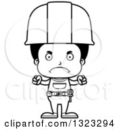 Cartoon Lineart Mad Black Boy Construction Worker