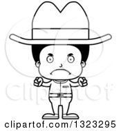 Lineart Clipart Of A Cartoon Mad Black Cowboy Royalty Free Outline Vector Illustration