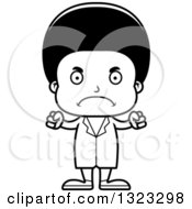 Lineart Clipart Of A Cartoon Mad Black Boy Doctor Royalty Free Outline Vector Illustration