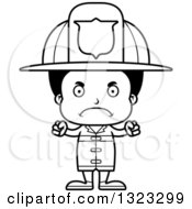 Lineart Clipart Of A Cartoon Mad Black Boy Firefighter Royalty Free Outline Vector Illustration