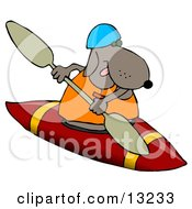 Sporty Dog Wearing A Life Jacket And Kayaking Clipart Illustration