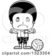 Lineart Clipart Of A Cartoon Mad Black Boy Volleyball Player Royalty Free Outline Vector Illustration