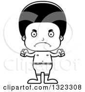 Lineart Clipart Of A Cartoon Mad Black Swimmer Boy Royalty Free Outline Vector Illustration