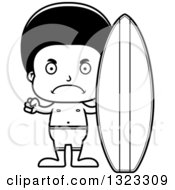 Lineart Clipart Of A Cartoon Mad Black Surfer Boy Royalty Free Outline Vector Illustration