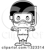 Lineart Clipart Of A Cartoon Mad Black Boy In Snorkel Gear Royalty Free Outline Vector Illustration