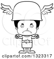 Lineart Clipart Of A Cartoon Mad Black Hermes Boy Royalty Free Outline Vector Illustration