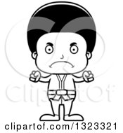 Lineart Clipart Of A Cartoon Mad Black Karate Boy Royalty Free Outline Vector Illustration