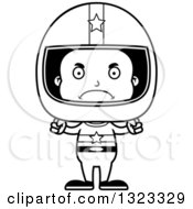 Lineart Clipart Of A Cartoon Mad Black Boy Race Car Driver Royalty Free Outline Vector Illustration