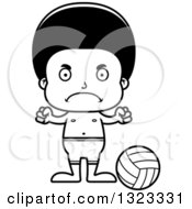 Lineart Clipart Of A Cartoon Mad Black Boy Beach Volleyball Player Royalty Free Outline Vector Illustration