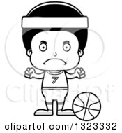 Lineart Clipart Of A Cartoon Mad Black Boy Basketball Player Royalty Free Outline Vector Illustration