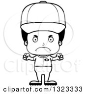 Lineart Clipart Of A Cartoon Mad Black Boy Baseball Player Royalty Free Outline Vector Illustration