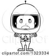 Lineart Clipart Of A Cartoon Mad Black Boy Astronaut Royalty Free Outline Vector Illustration