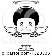 Lineart Clipart Of A Cartoon Mad Black Angel Boy Royalty Free Outline Vector Illustration