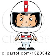 Clipart Of A Cartoon Happy Hispanic Boy Race Car Driver Royalty Free Vector Illustration