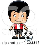 Clipart Of A Cartoon Happy Hispanic Boy Soccer Player Royalty Free Vector Illustration