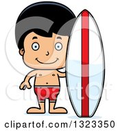 Clipart Of A Cartoon Happy Hispanic Surfer Boy Royalty Free Vector Illustration
