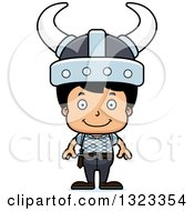 Clipart Of A Cartoon Happy Hispanic Viking Boy Royalty Free Vector Illustration