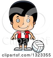 Clipart Of A Cartoon Happy Hispanic Boy Volleyball Player Royalty Free Vector Illustration