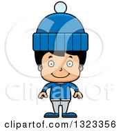 Clipart Of A Cartoon Happy Hispanic Boy In Winter Clothes Royalty Free Vector Illustration